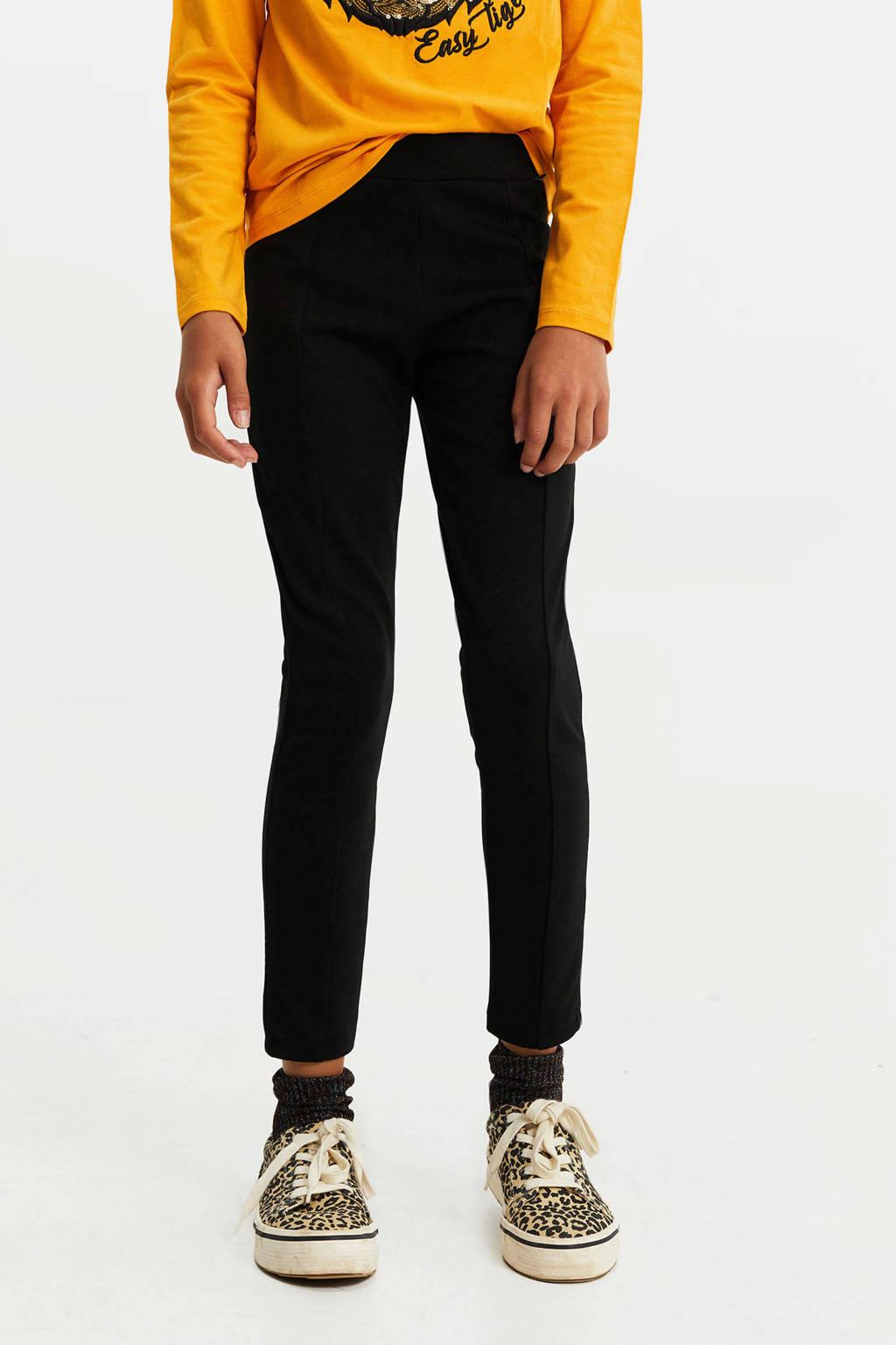 WE Fashion legging met zijstreep zwart, Zwart