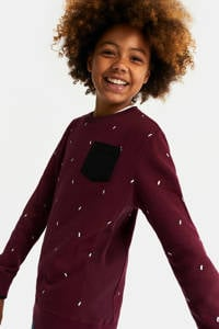 WE Fashion sweater met all over print donkerrood/wit, Donkerrood/wit