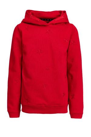regular fit hoodie met borduursels rood