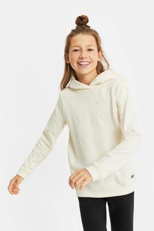 regular fit hoodie met borduursels ecru