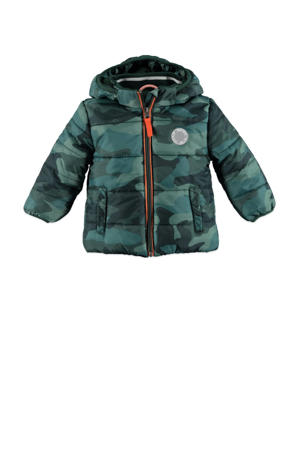 gewatteerde winterjas met camouflageprint groen
