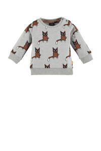 Babyface baby sweater met biologisch katoen grijs melange/bruin/zwart, Grijs melange/bruin/zwart
