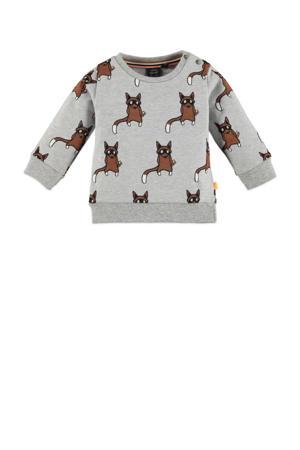 baby sweater met biologisch katoen grijs melange/bruin/zwart
