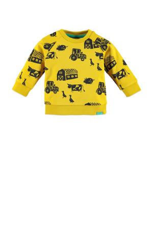 baby sweater met all over print geel