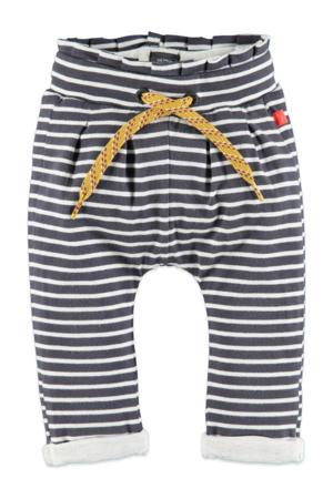 baby gestreepte regular fit broek met biologisch katoen antraciet/wit/geel