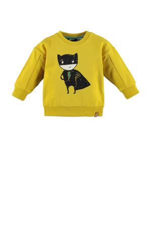 sweater met printopdruk geel