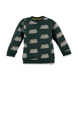 sweater met all over print donkergroen