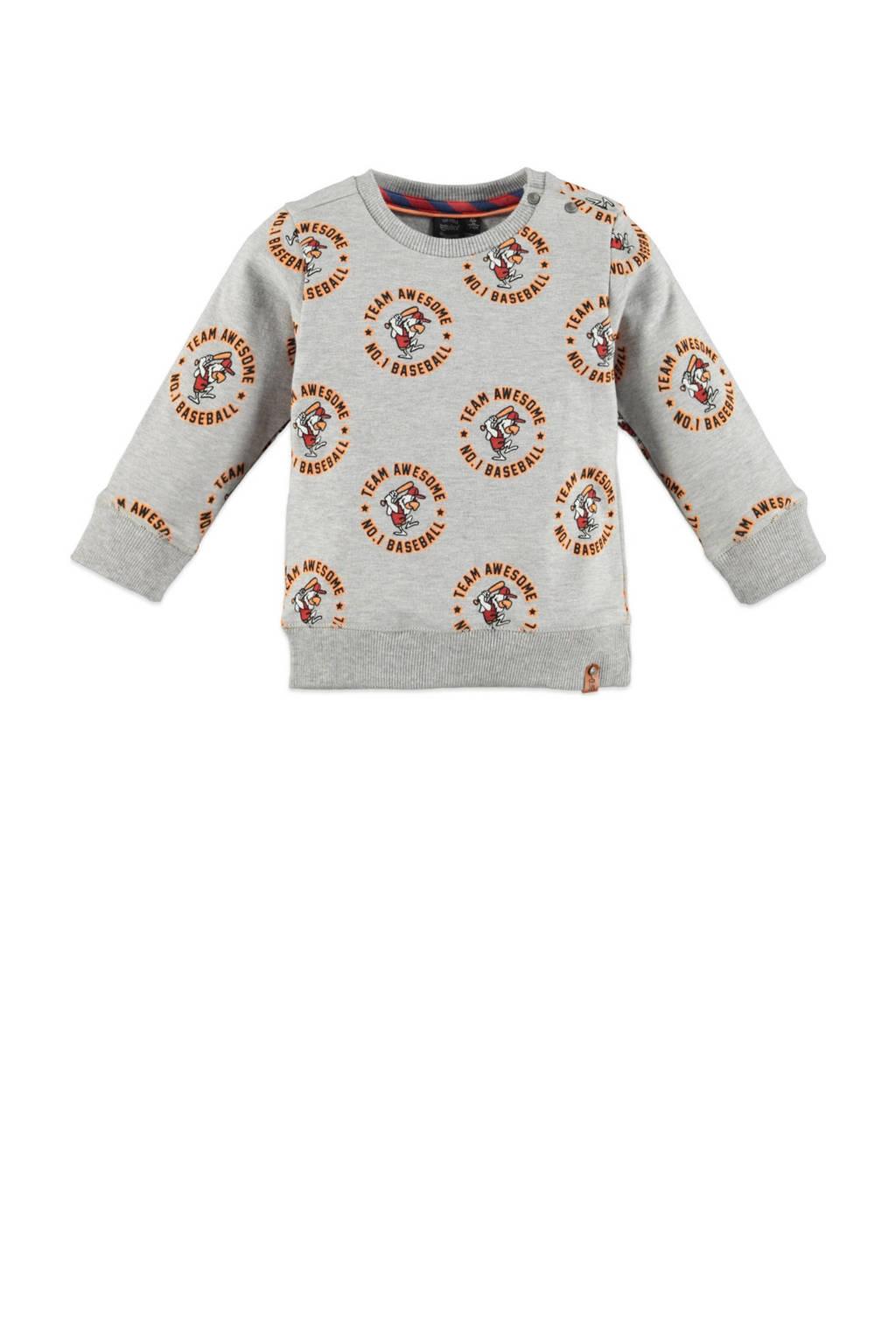 Babyface sweater met all over print grijs melange/oranje/rood, Grijs melange/oranje/rood