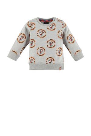 sweater met all over print grijs melange/oranje/rood