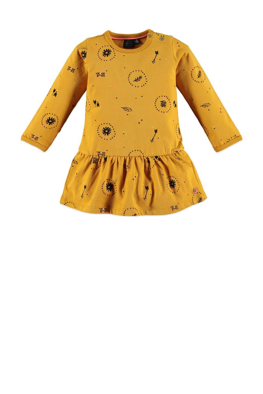Babyface jersey jurk met all over print en plooien okergeel, Okergeel