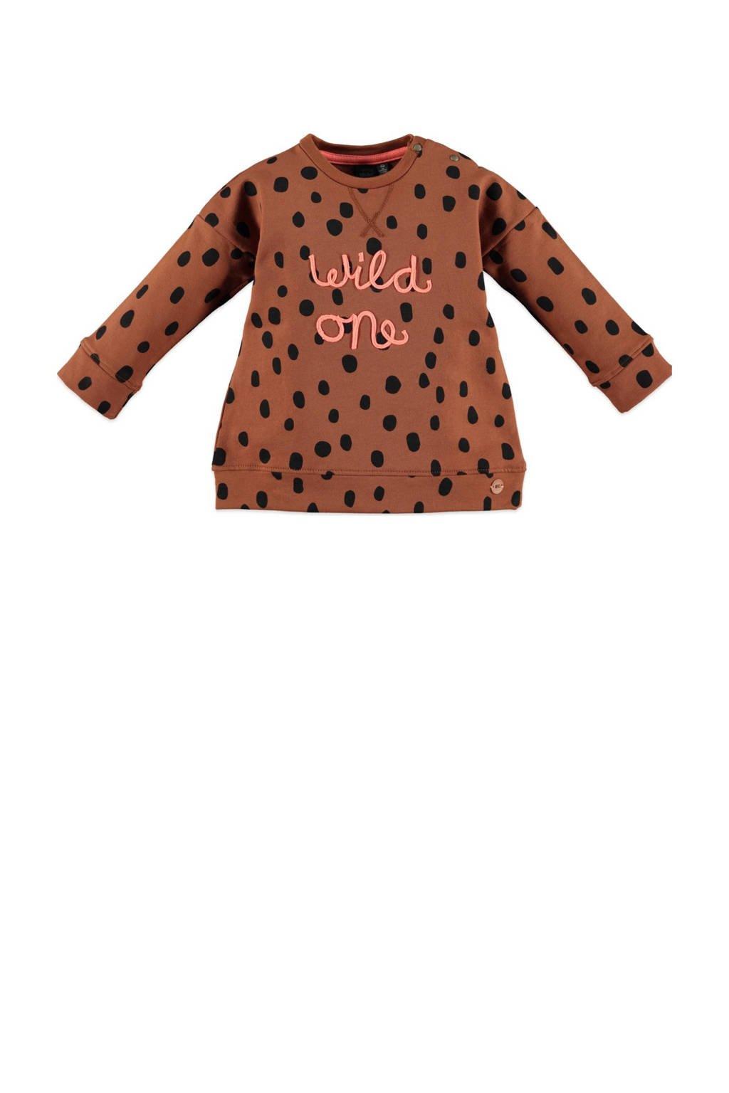 Babyface sweater met all over print bruin/zwart/roze, Bruin/zwart/roze