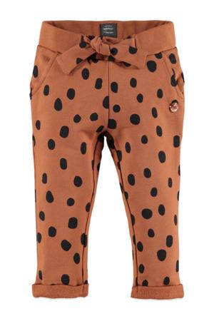 regular fit broek met stippen bruin/zwart