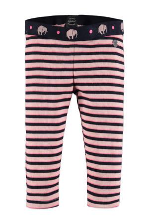 gestreepte regular fit legging roze/zwart