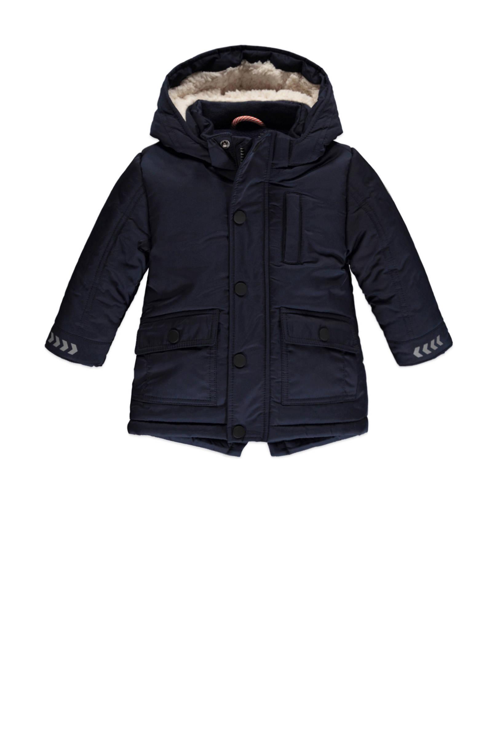 parka winterjas donkerblauwwit