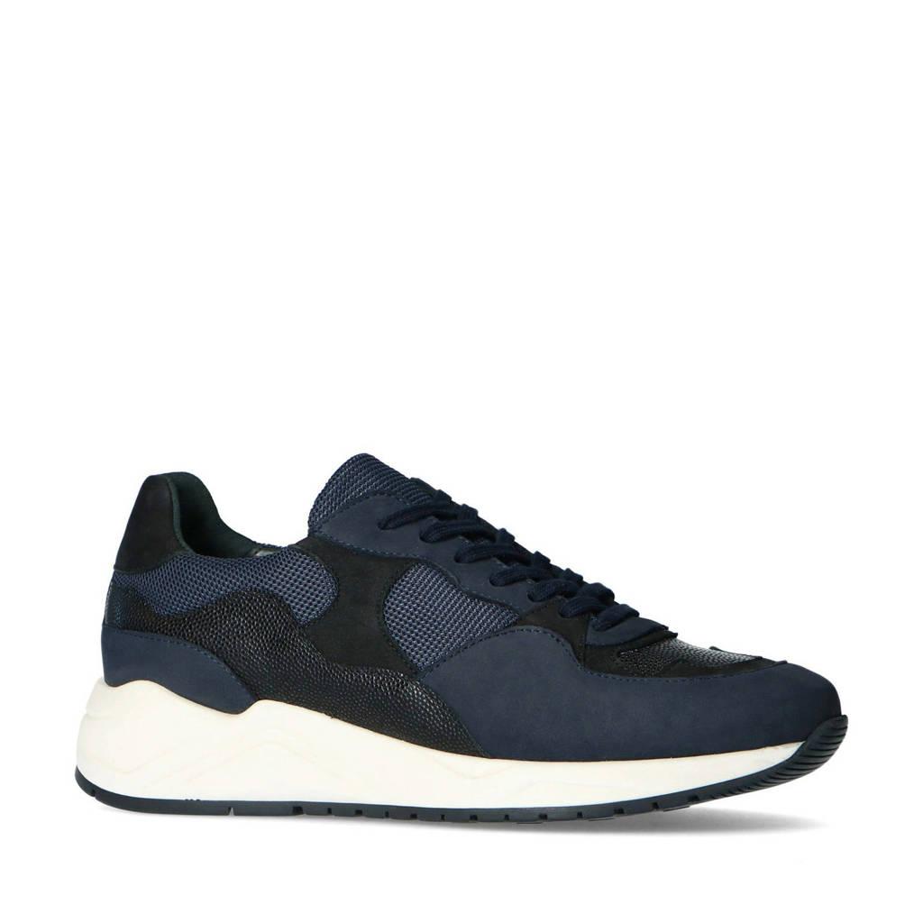Sacha   leren sneakers zwart/donkerblauw, Blauw/zwart