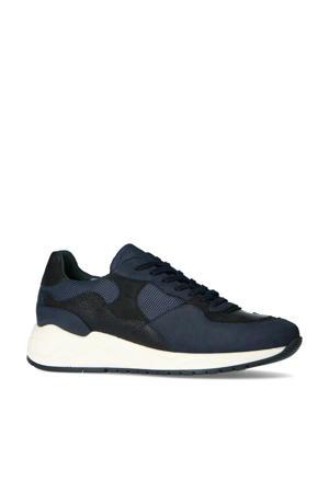 leren sneakers zwart/donkerblauw