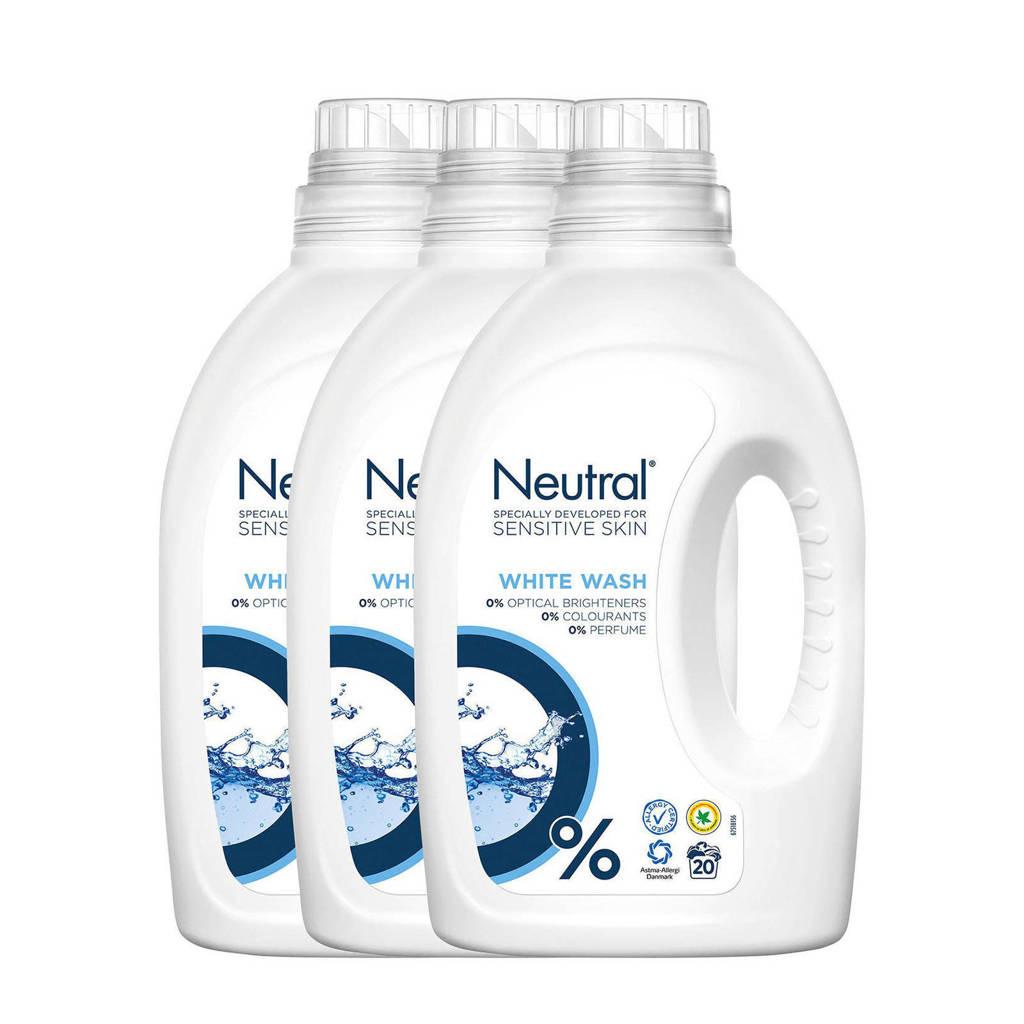 Neutral Wit wasmiddel -  3 x 1 liter - 60 wasbeurten - 60 wasbeurten