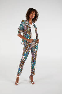 Expresso slim fit pantalon met all over print wit/groen/lila, Wit/groen/lila
