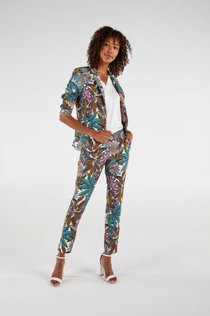 slim fit pantalon met all over print wit/groen/lila