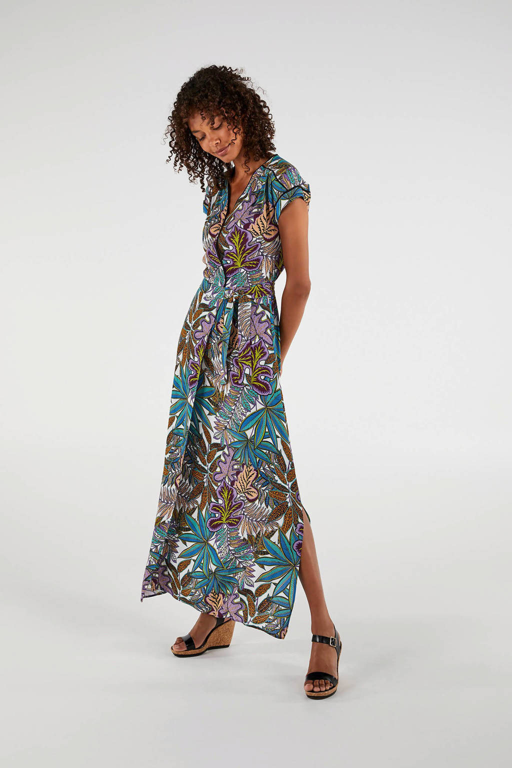 Expresso wikkeljurk met bladprint lila/ turquoise, Lila/ turquoise