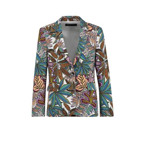 Expresso blazer met all over print wit/groen/lila