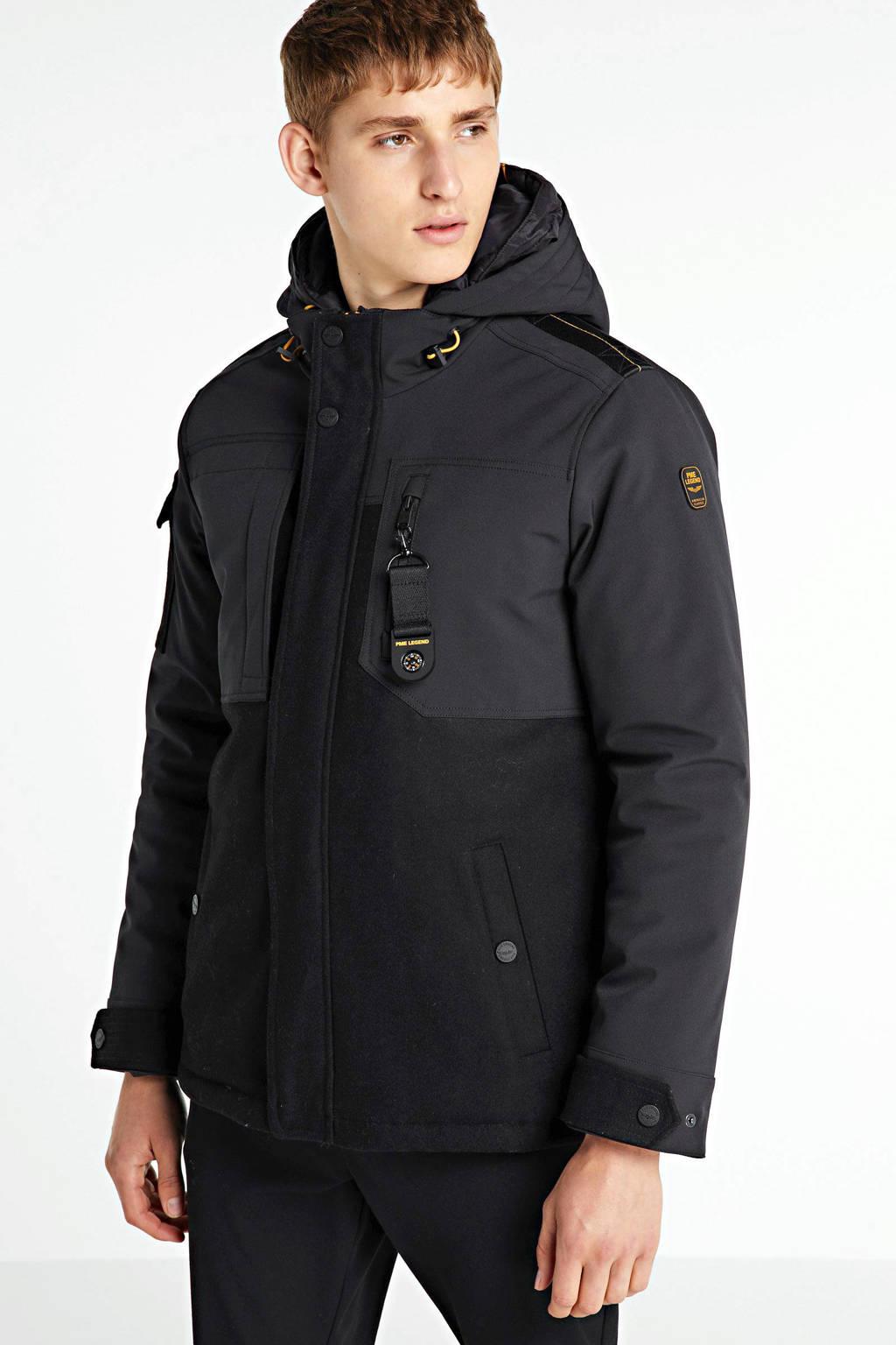 PME Legend winterjas met wol zwart, Zwart