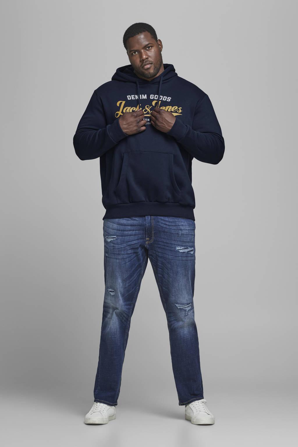 JACK & JONES PLUS SIZE hoodie met logo donkerblauw, Donkerblauw