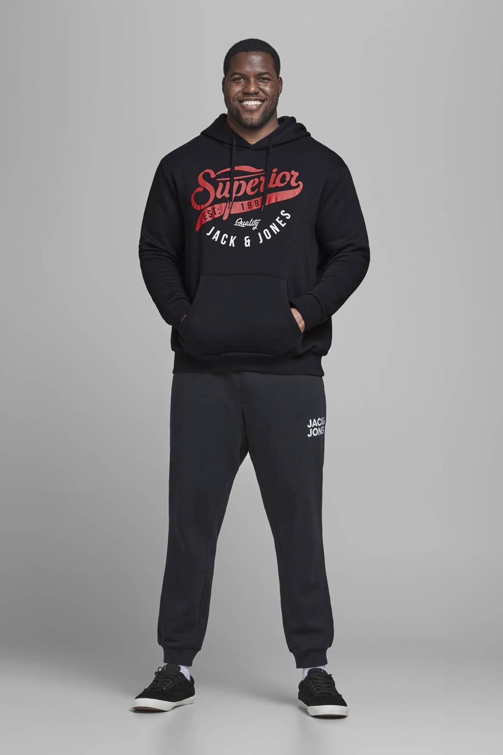 JACK & JONES PLUS SIZE hoodie met logo zwart, Zwart