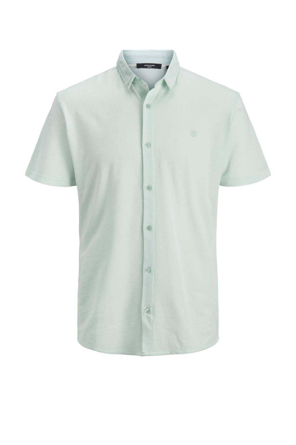 JACK & JONES PREMIUM gemêleerd slim fit overhemd lichtgroen, Lichtgroen