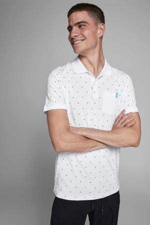 slim fit polo met all over print wit