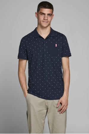 regular fit polo met stippen donkerblauw