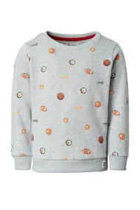 Noppies sweater Franklin met all over print grijs melange/oranje, Grijs melange/oranje
