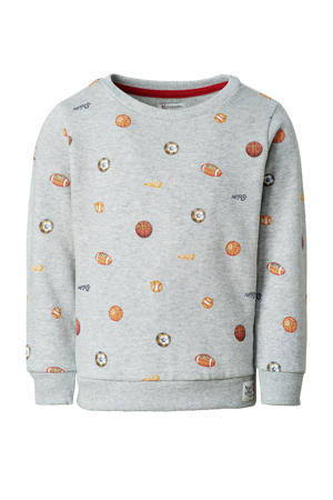 sweater Franklin met all over print grijs melange/oranje