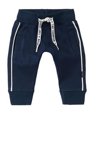 baby regular fit broek Etwatwa met biologisch katoen donkerblauw/wit