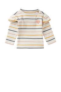 Noppies baby gestreepte longsleeve Rietfontein wit/okergeel/donkerblauw, Wit/okergeel/donkerblauw