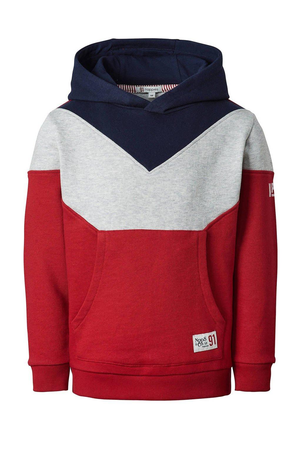 Noppies hoodie Greytown rood/donkerblauw, Rood/donkerblauw