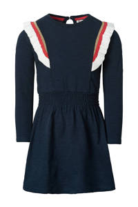 Noppies A-lijn jurk Dealesville met ruches donkerblauw/wit/rood, Donkerblauw/wit/rood