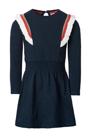 A-lijn jurk Dealesville met ruches donkerblauw/wit/rood
