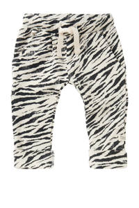 Noppies baby slim fit broek Tebang met zebraprint wit/zwart, Wit/zwart
