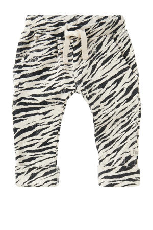 baby slim fit broek Tebang met zebraprint wit/zwart