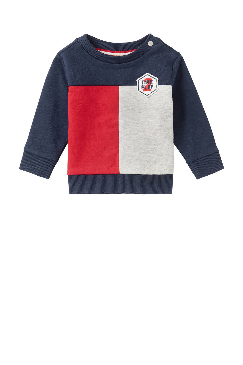 Noppies baby sweater Collinsville rood/blauw/wit, Rood/blauw/wit