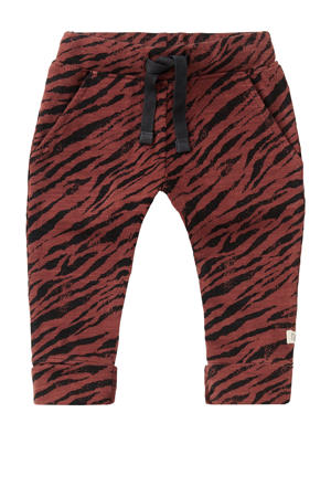 baby slim fit broek Manteca met zebraprint roodbruin/zwart