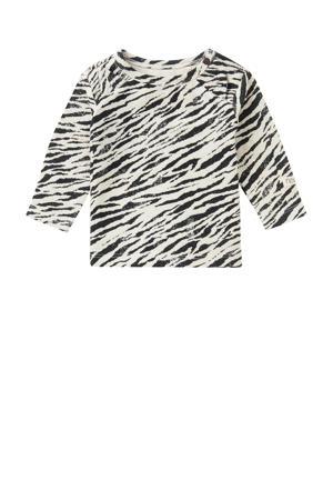 baby longsleeve Macon met zebraprint wit/zwart