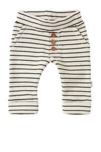 Noppies baby gestreepte regular fit broek Lindley met biologisch katoen wit/donkerblauw, Wit/donkerblauw