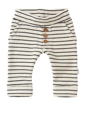 baby gestreepte regular fit broek Lindley met biologisch katoen wit/donkerblauw