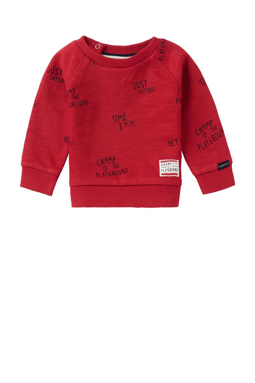 Noppies baby sweater Springs met all over print rood, Rood