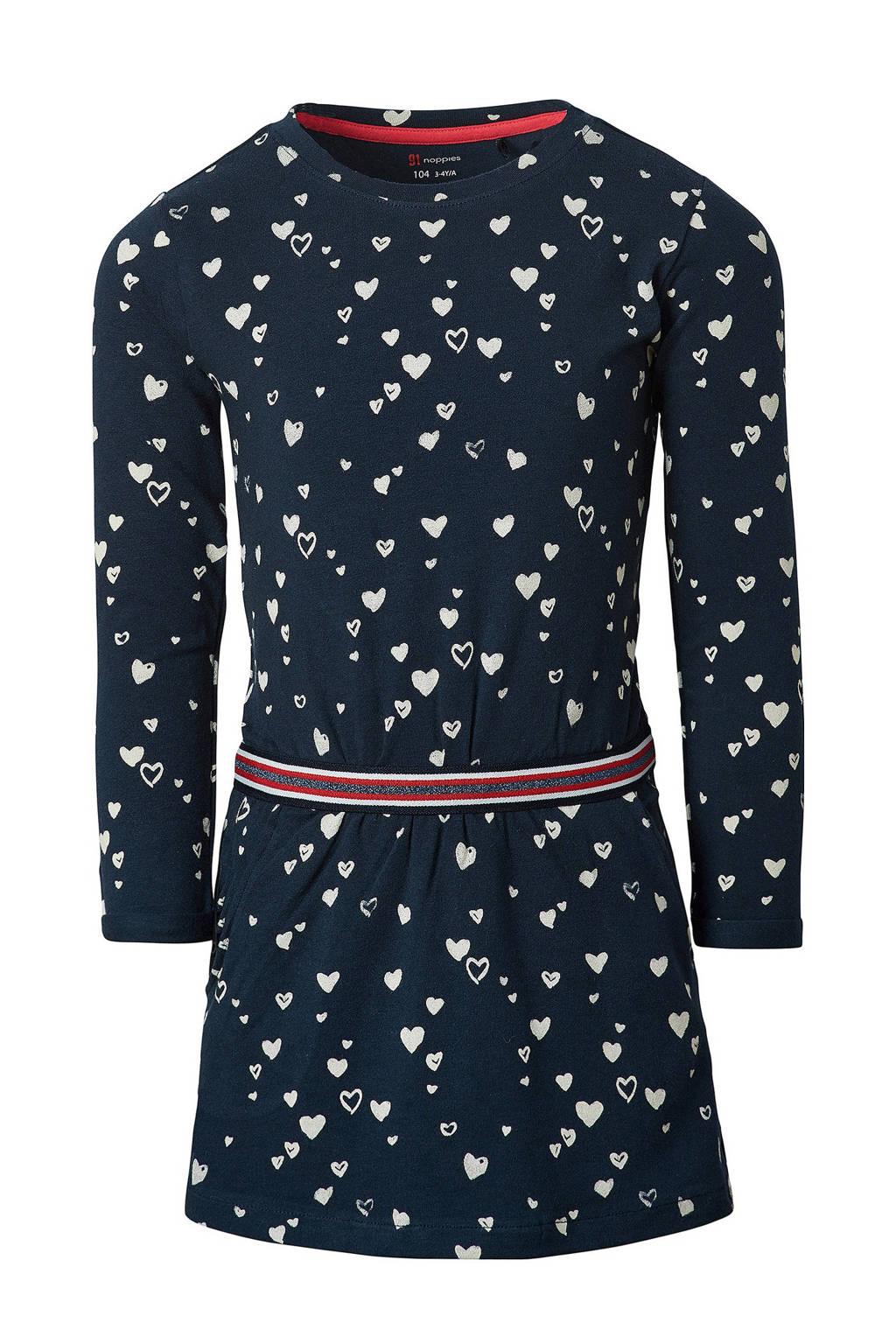 Noppies jurk Roux met all over print donkerblauw/wit, Donkerblauw/wit
