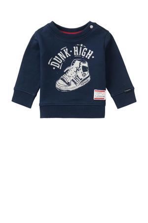 baby sweater Petoria met printopdruk donkerblauw/wit