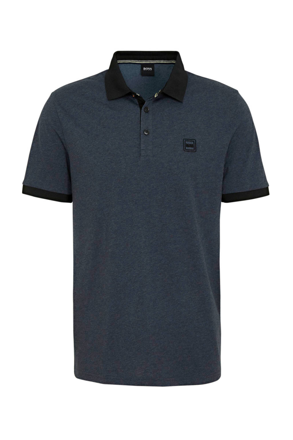 BOSS Casual gemêleerde regular fit polo donkerblauw, Donkerblauw