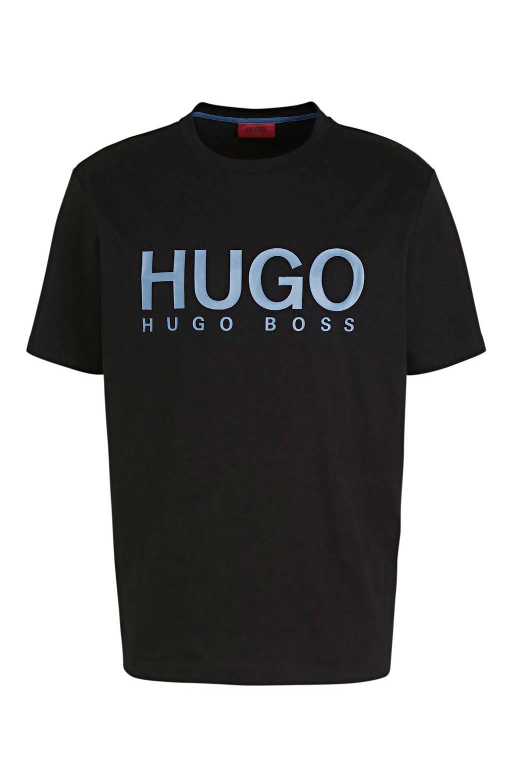 HUGO T-shirt met logo zwart, Zwart